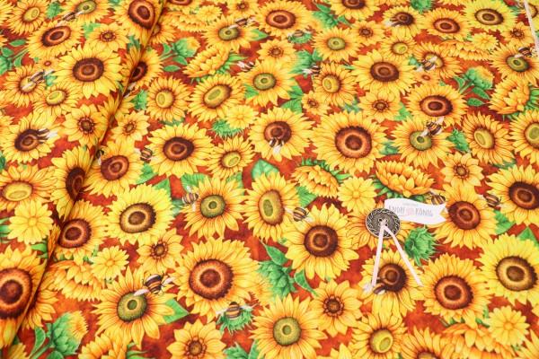 Baumwollstoff Sonnenblumen
