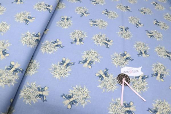 Baumwollstoff blau mit floralem Muster