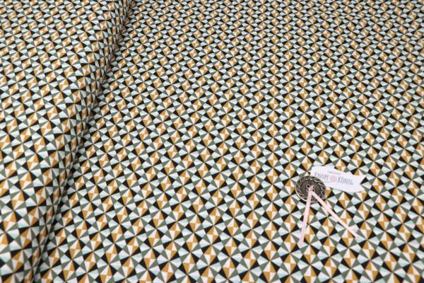 Baumwollstoff mit geometrischem Muster in Kaki und Safran
