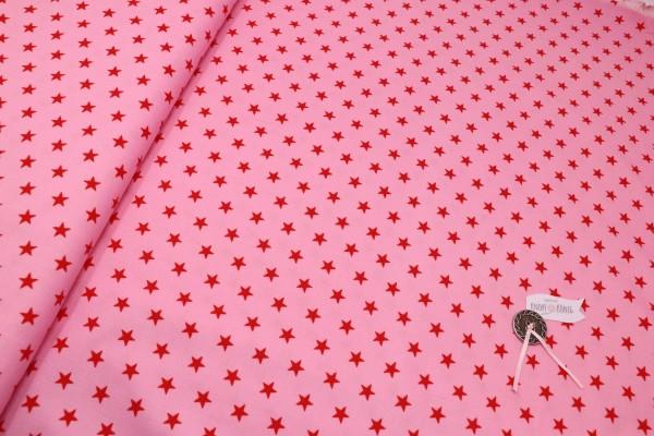Baby-Cordstoff, rosa mit roten Sternen