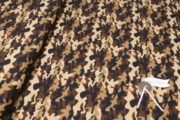 Baumwollstoff Camouflage braun