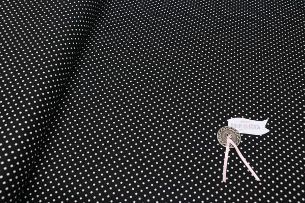 Baumwollstoff schwarz mit weißen Punkten