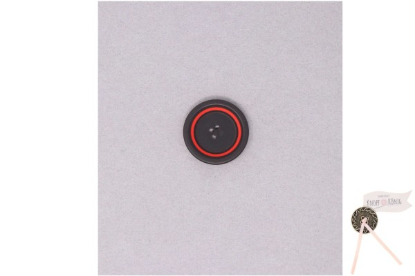 Damenknopf schwarz mit rotem Kreis