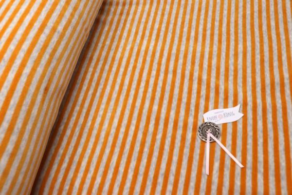 Nickistoff Streifen grau-gelb