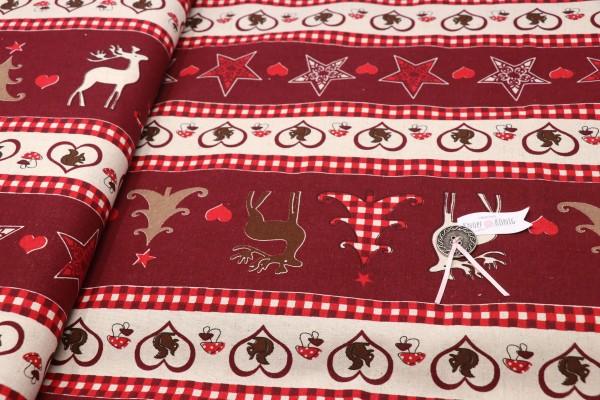 Canvas, Weihnachtsliebe rot-beige
