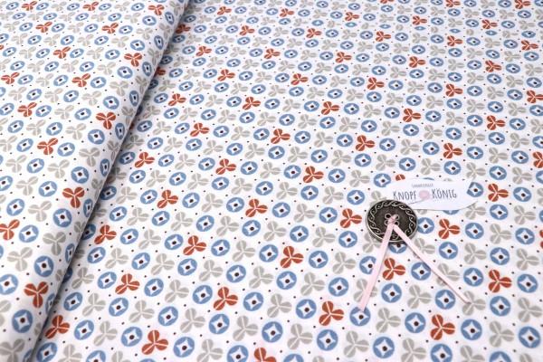 Baumwollstoff grau-blau gemustert