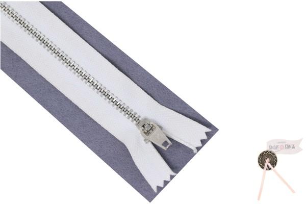 Jeanszipp weiß, Metallschiene silber 6mm