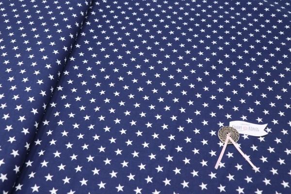 Baumwollstoff dunkelblau mit weißen Sternen