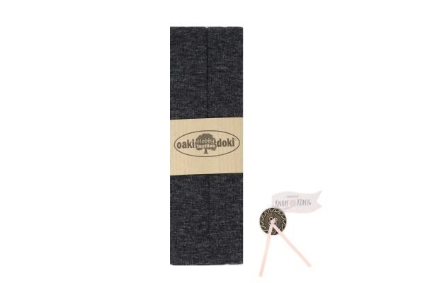 Jersey-Schrägband dunkelgrau meliert, 3m