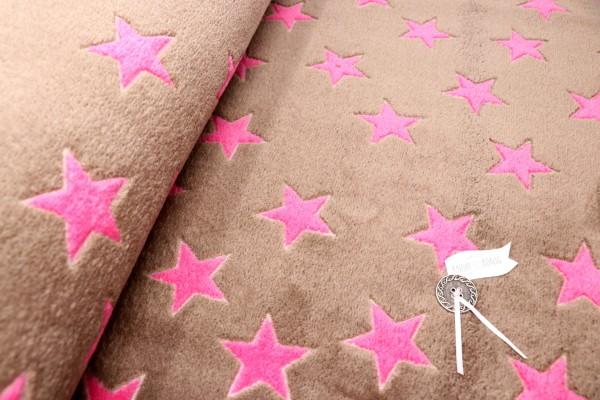 Teddy-Plüsch braun mit pinken Sternen