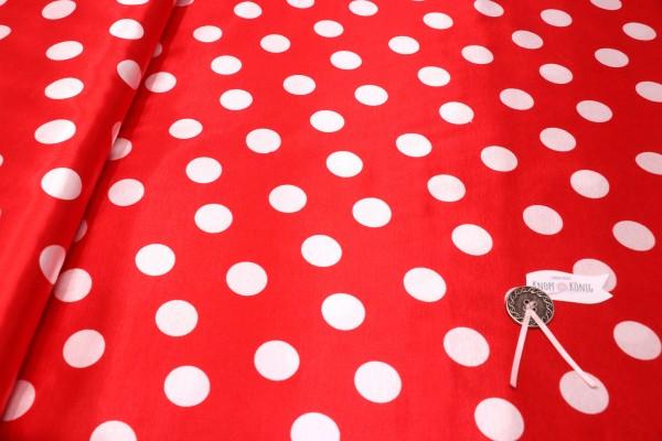 Faschingsstoff, rot mit weißen Punkten
