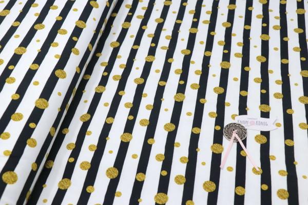 Baumwoll-Jersey schwarz-weiß gestreift, goldene Punkte