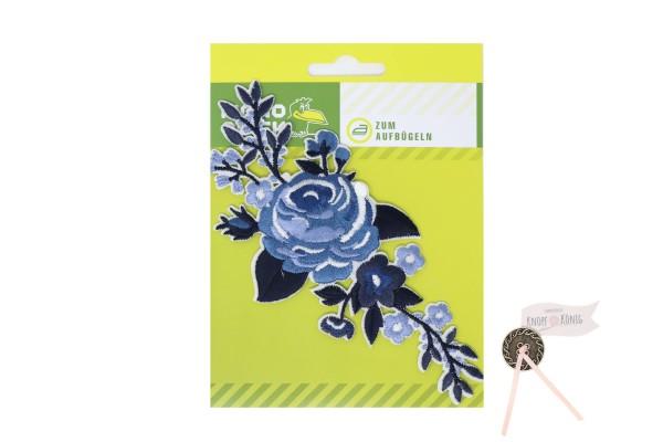 Applikation Blumenranke blau, 15cm