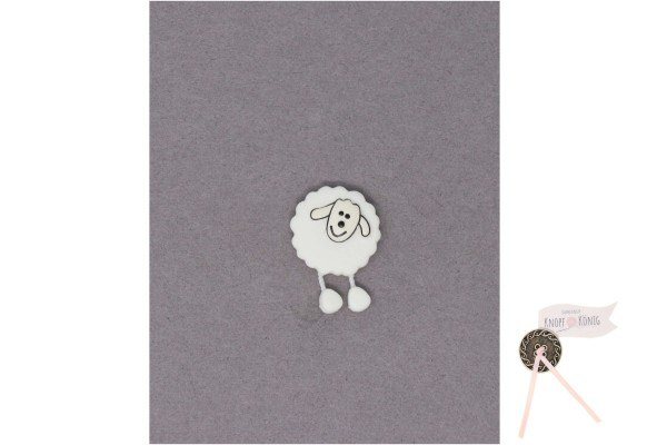 Kinderknopf Schaf, 18mm weiß