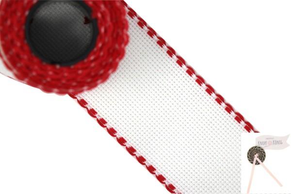 Aida Stickband, 5cm weiß-rot