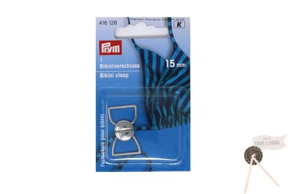 Bikiniverschluss metall silber, 15mm