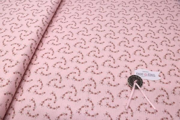 Baumwolldruck rosa mit Blümchen