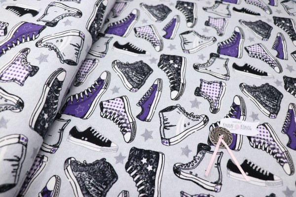 Jerseystoff grau, lila Converse
