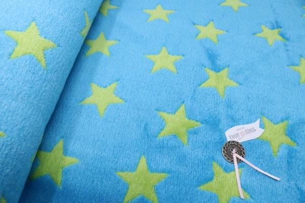 Teddy-Plüsch blitzblau mit grünen Sternen