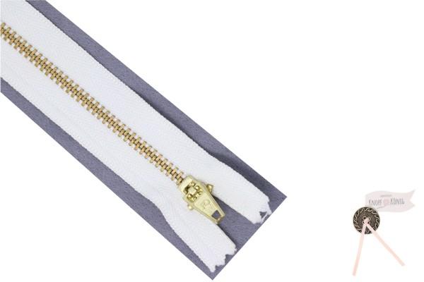 Jeanszipp weiß, Metallschiene gold 6mm