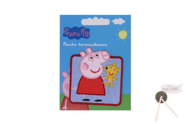 Applikation Peppa Pig mit Teddy, 6x6cm