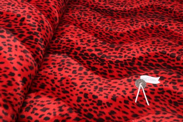 Kunstfell, Leopard rot-schwarz