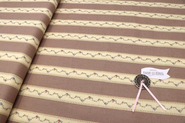 Baumwolldruck Streifenoptik braun