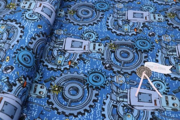 Baumwoll-Jersey blau, Roboter