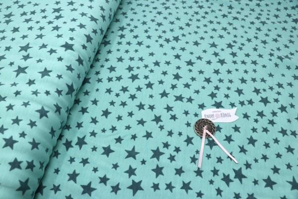 Baumwoll-Jersey mint mit Sternen