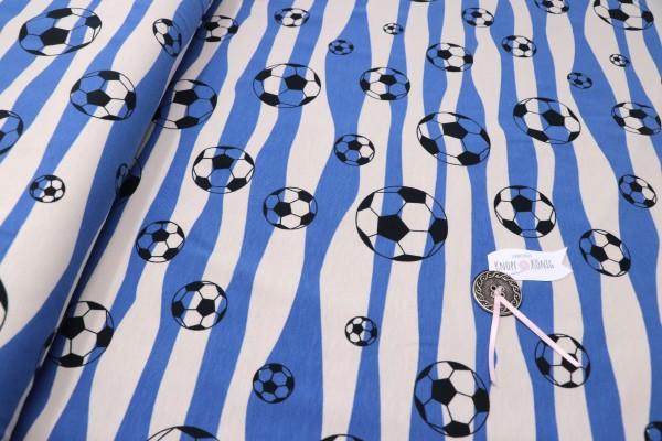 Baumwoll-Jersey Fußball blau