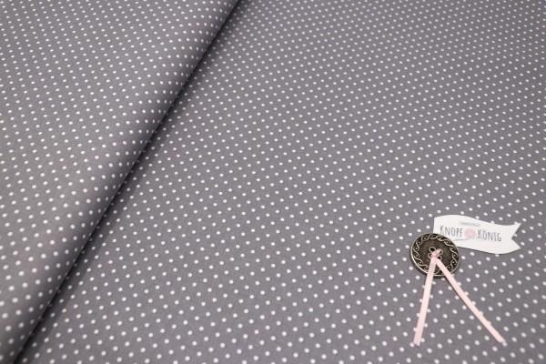 Baumwollstoff grau mit weißen Punkten