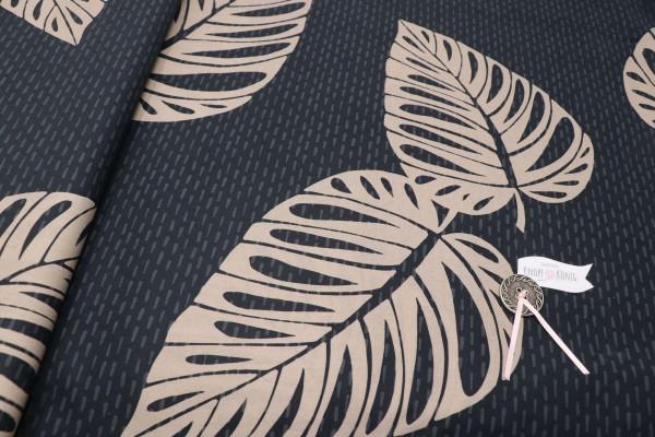 Baumwolldruck Philodendron dunkelblau