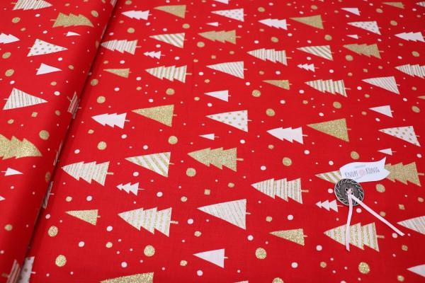 Weihnachtsstoff rot mit goldenem Glitzer