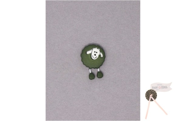 Kinderknopf Schaf, 18mm olivgrün