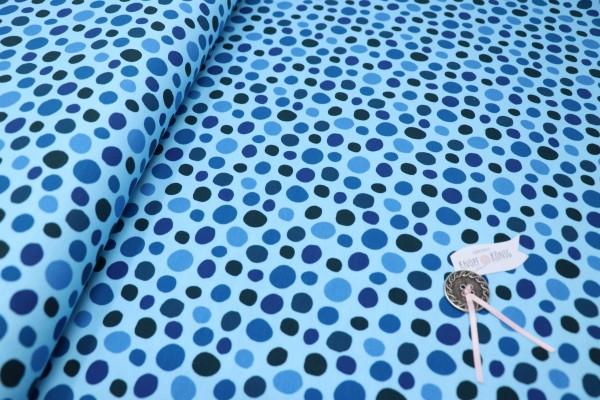 Jerseystoff mit blauen Punkten
