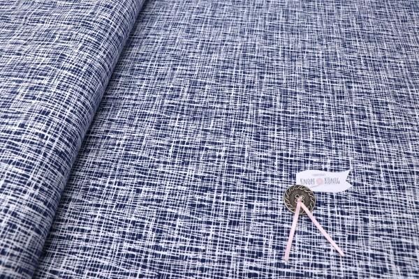 Jerseystoff dunkelblau mit weißen Strichen