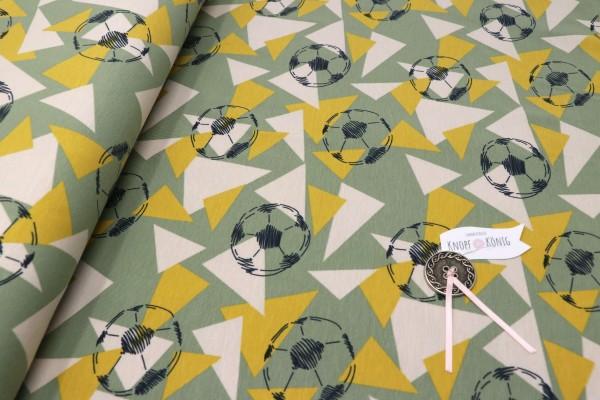 Baumwoll-Jersey Fußball mit Dreiecken grün-gelb