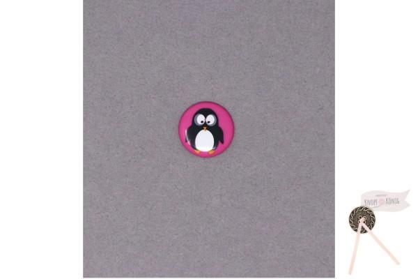 Kinderknopf Pinguin pink