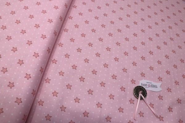 Hellrosa Baumwollstoff mit Sternen und weißen Pünktchen