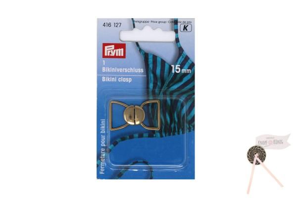 Bikiniverschluss metall gold, 15mm