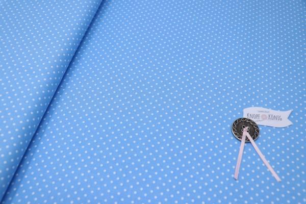 Hellblauer Baumwollstoff mit weißen Punkten