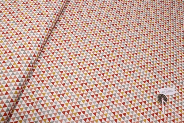 Naturfarbener Baumwollstoff mit Dreiecken in Brauntönen