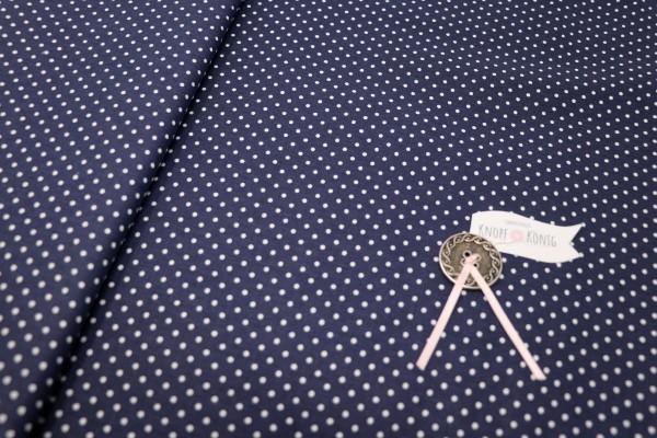 Baumwollstoff dunkelblau mit weißen Punkten
