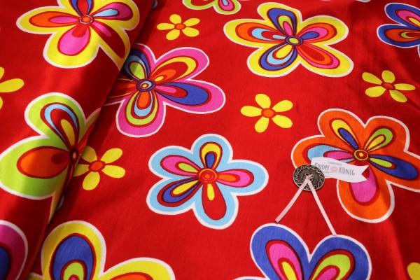 Faschingsstoff, rot mit Blumen