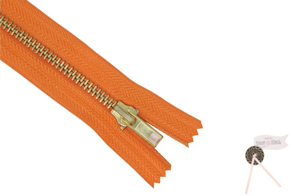 Jeanszipp orange, Metallschiene gold 6mm