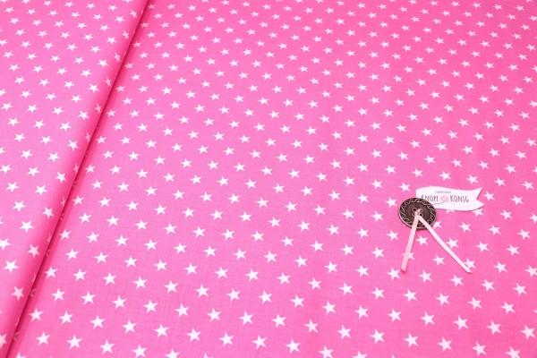 Baumwollstoff pink mit weißen Sternen