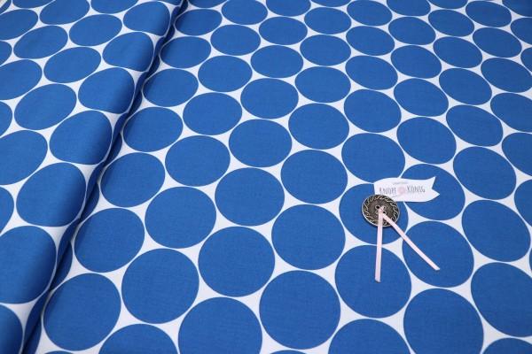 Baumwollstoff mit großen Punkten blitzblau
