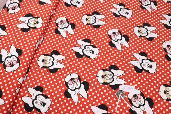 Jerseystoff rot mit Minnie Mouse und Punkten