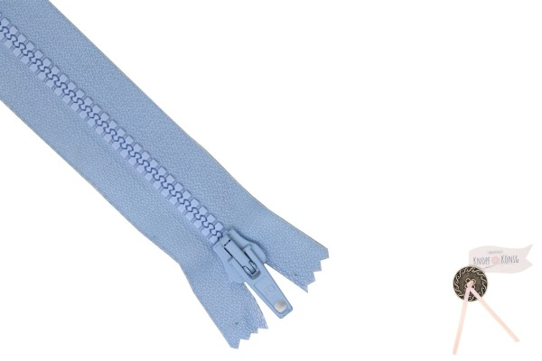Jackenzipp Dekor hellblau, Kunststoff 6mm