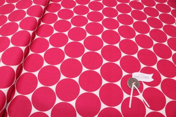 Baumwollstoff mit großen Punkten pink